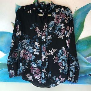 WHBM floral blouse neck tie 0